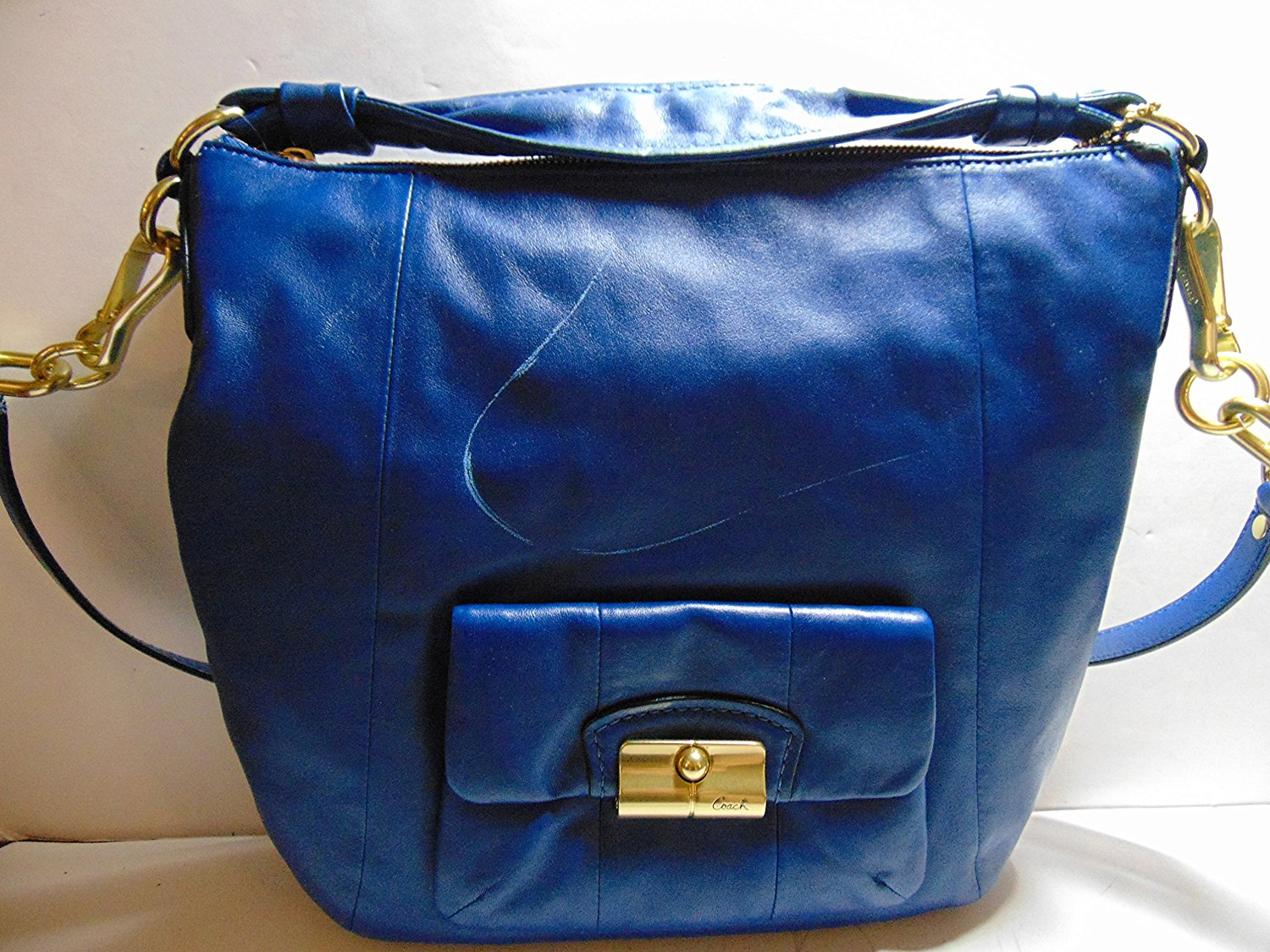 c4b957fc5b Buy Coach Leather Hobo Shoulder Bag Navy Blue Vintage Coach in Cheap ...