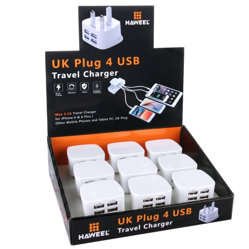2017 new UK Plug HAWEEL 4 USB Ports <strong>Max</strong> 3.1A Travel Charger Kit with Color Box Package for iPhone 6,USB Ports charger