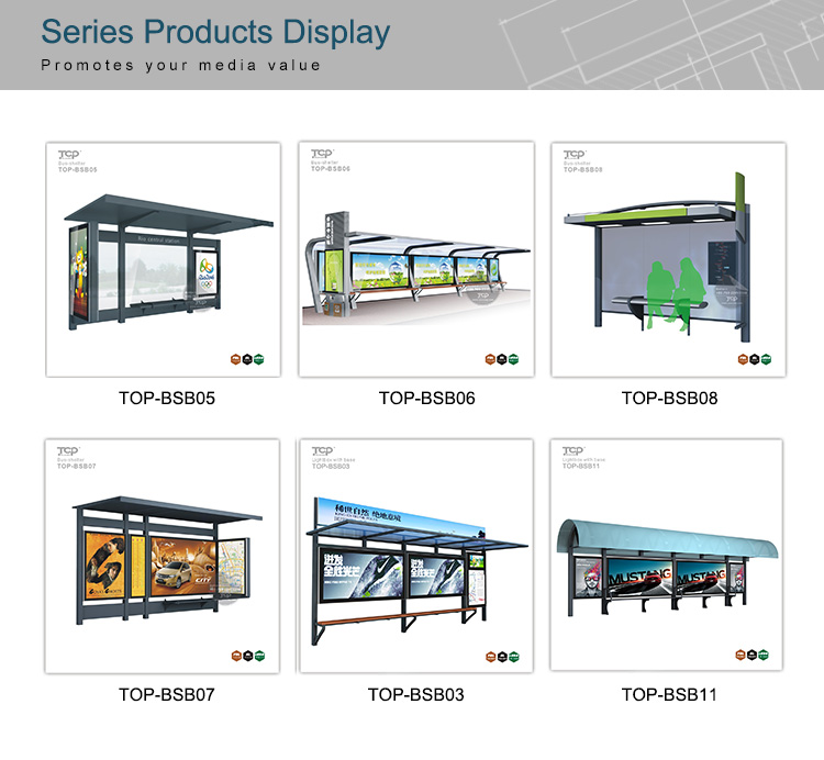 Outdoor Guangzhou Bus Station Green Shelter and Kiosk Structure Light Box
