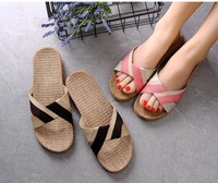 Classic and fashionable stripe designs men and women summer breathable comfortable linen slipper