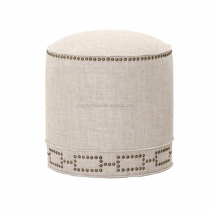 french style home furniture round household linen fabric indian ottoman pouf wholesale