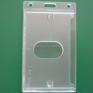 Enclosed Id Badge Holder Frosted Horizontal Hard Plastic ID Card Badge Holder with Thumb Slot