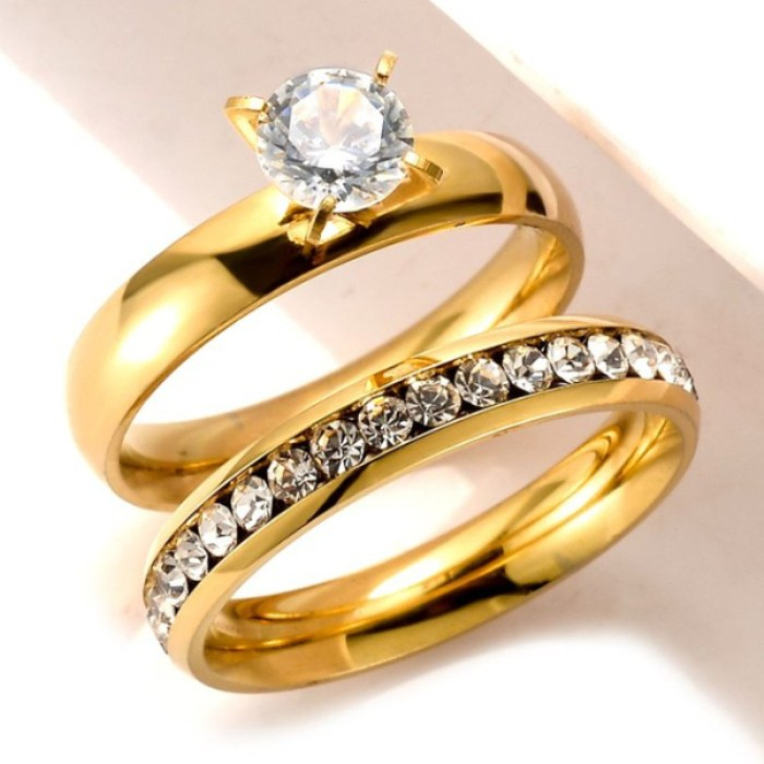 fashion design hotsale item stainless steel gold wedding rings set for men and women - Men And Women Wedding Ring Sets