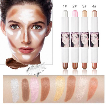 Cute Girl Packing Face Eye Foundation Pencil Double End Highlight Contour Concealer Stick With Made in
