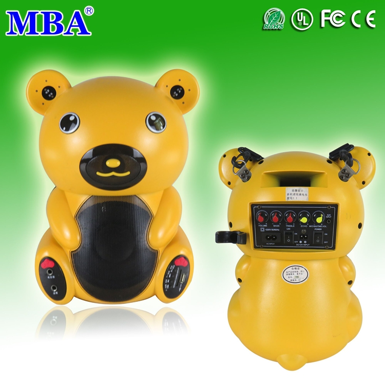 Mini 6-inch woofer cartoon bear wireless portable trolley bluetooth speaker with USB,sd,mp3,phone,wireless microphone,fm radio