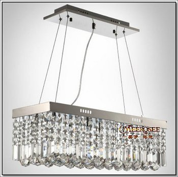Long Size Rectangle Crystal Pendant Light Fitting Crystal Chandelier LED  Ceiling Suspension Lamp For Dining Room