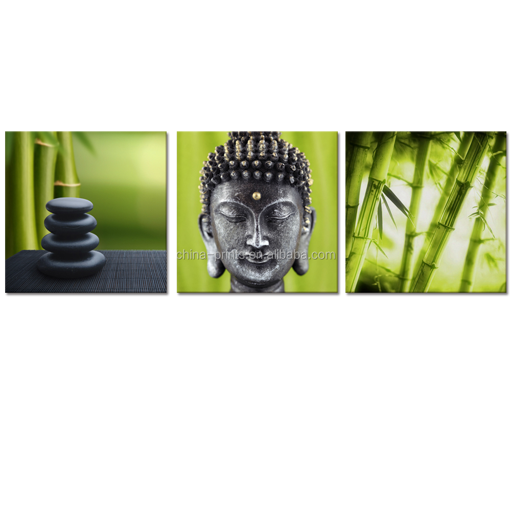 Custom Stretched Canvas Zen Picture Canvas Printing Artwork Buddha Bamboo Canvas Photo Prints Home Wall Decoration 3 Panels