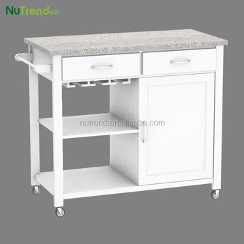 Marble Top Design Wood Kitchen Trolley With Wheels