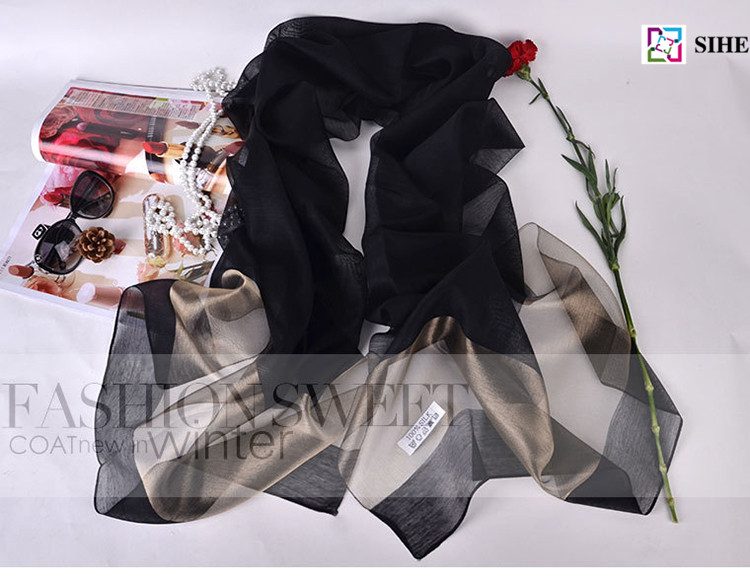 wholesale turkish hijab muslim real silk scarves solid color in 19 colors