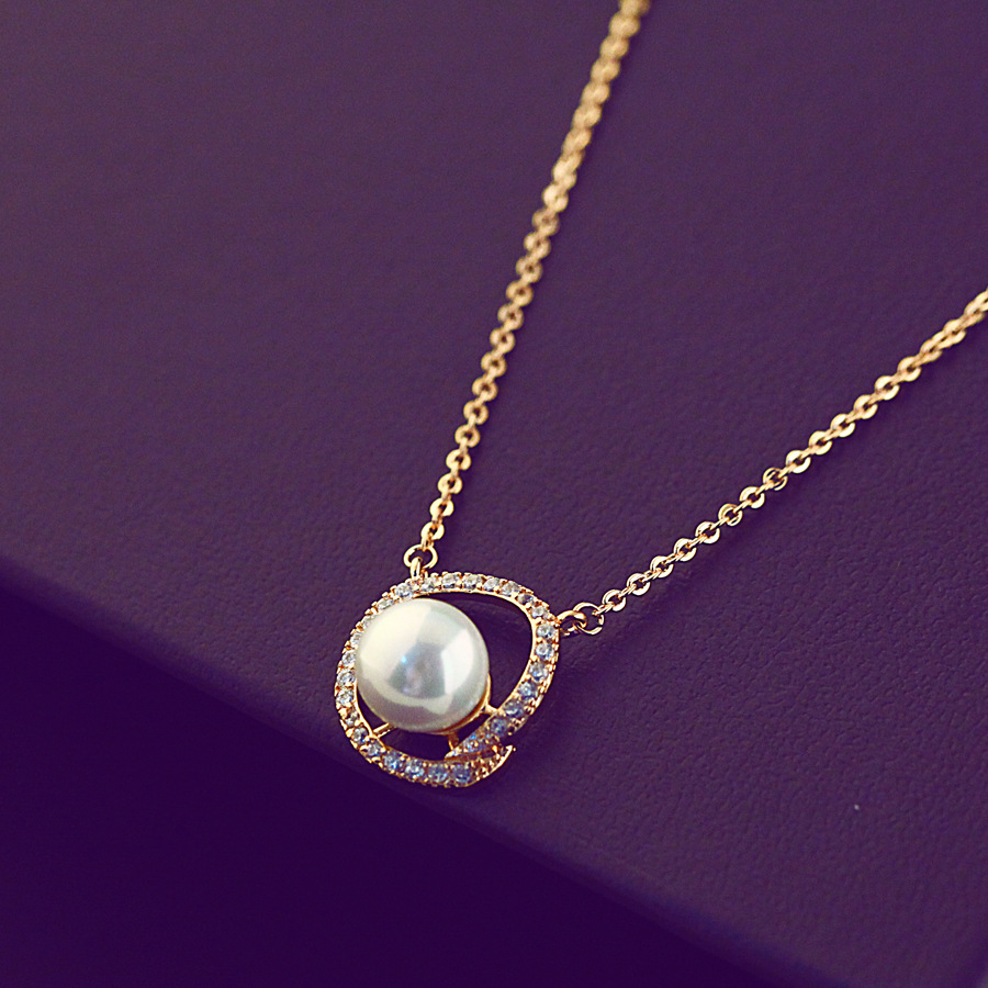 L830042 fashion jewelry gold long chain real pearl necklace freshwater for woman