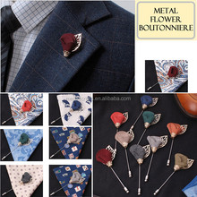 Men's Accessories Metal Flower Boutonniere Brooch Lapel Pin Tuxedo Corsage Prom