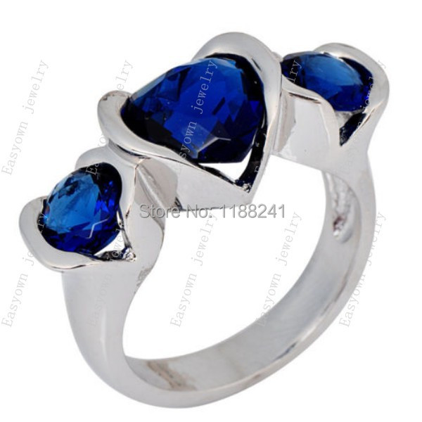 10ps/lot Size 6/7/8/9/10 Heart Design Women Fashion Jewelry Rings 10KT White Gold Filled Blue Zircon Stone Ring RW0391