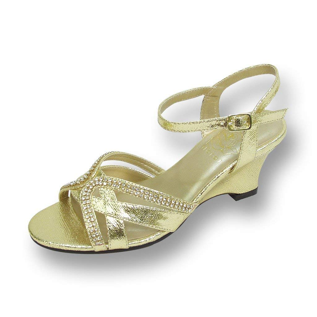 7f95903edfd Get Quotations · Floral FIC Leah Women Wide Width Wedge Sandals for  Wedding