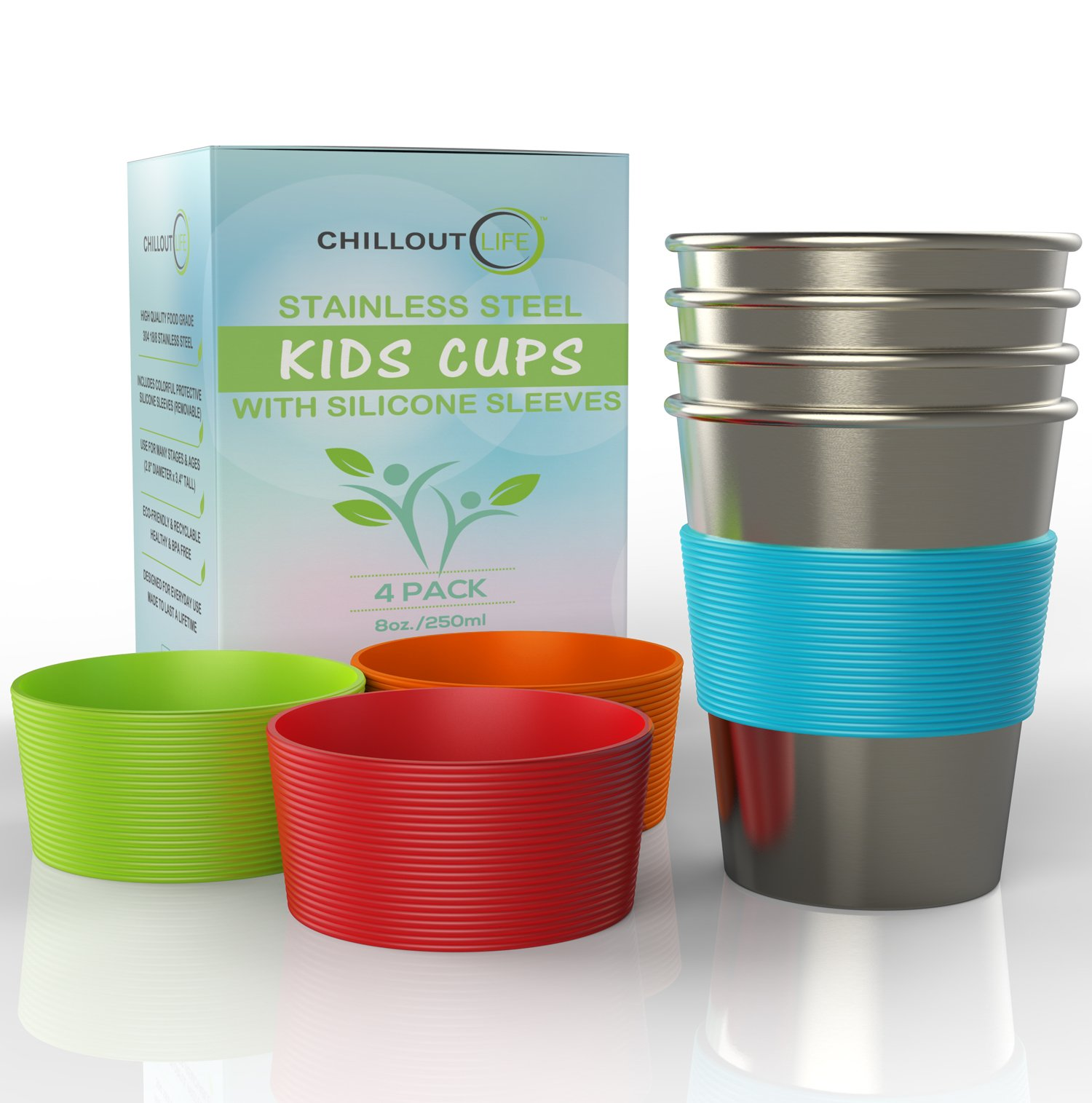 1f7cdc457dd Get Quotations · Stainless Steel Cups for Kids and Toddlers 8 oz. with  Silicone Sleeves - Stainless Steel
