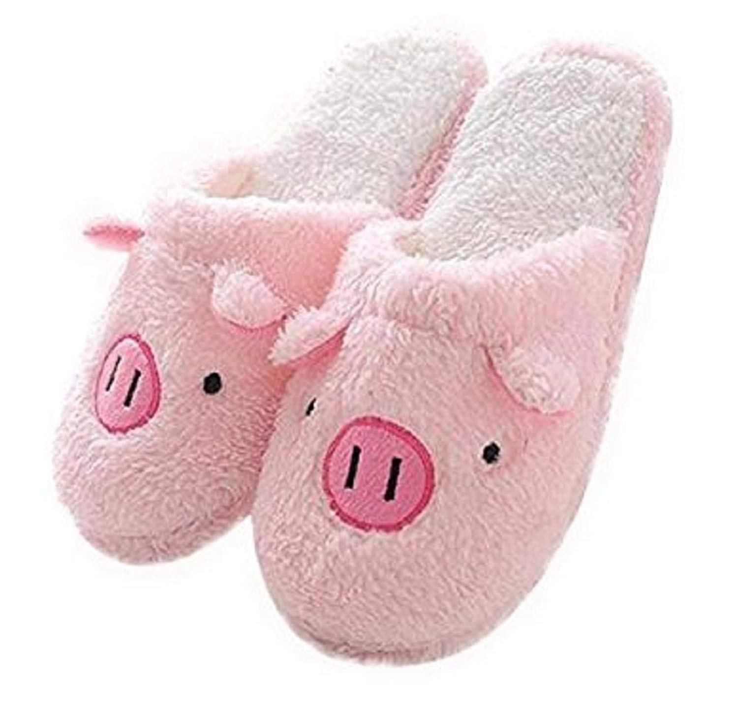 3d0fb1c27f5 Get Quotations · TOKYO-T Fuzzy Animal Slippers For Women Piggy Bunny Pink  Room Shoes Size 9