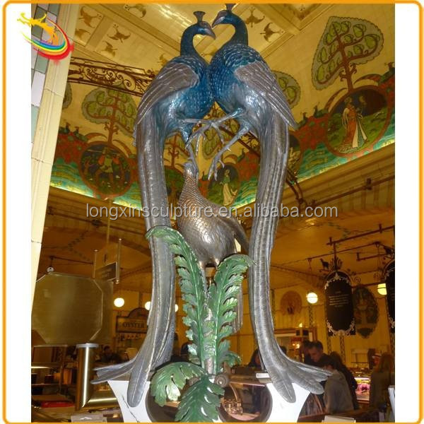 Indoor Decor Modern Folk Art Metal Bronze Peacock Sculpture for Sale