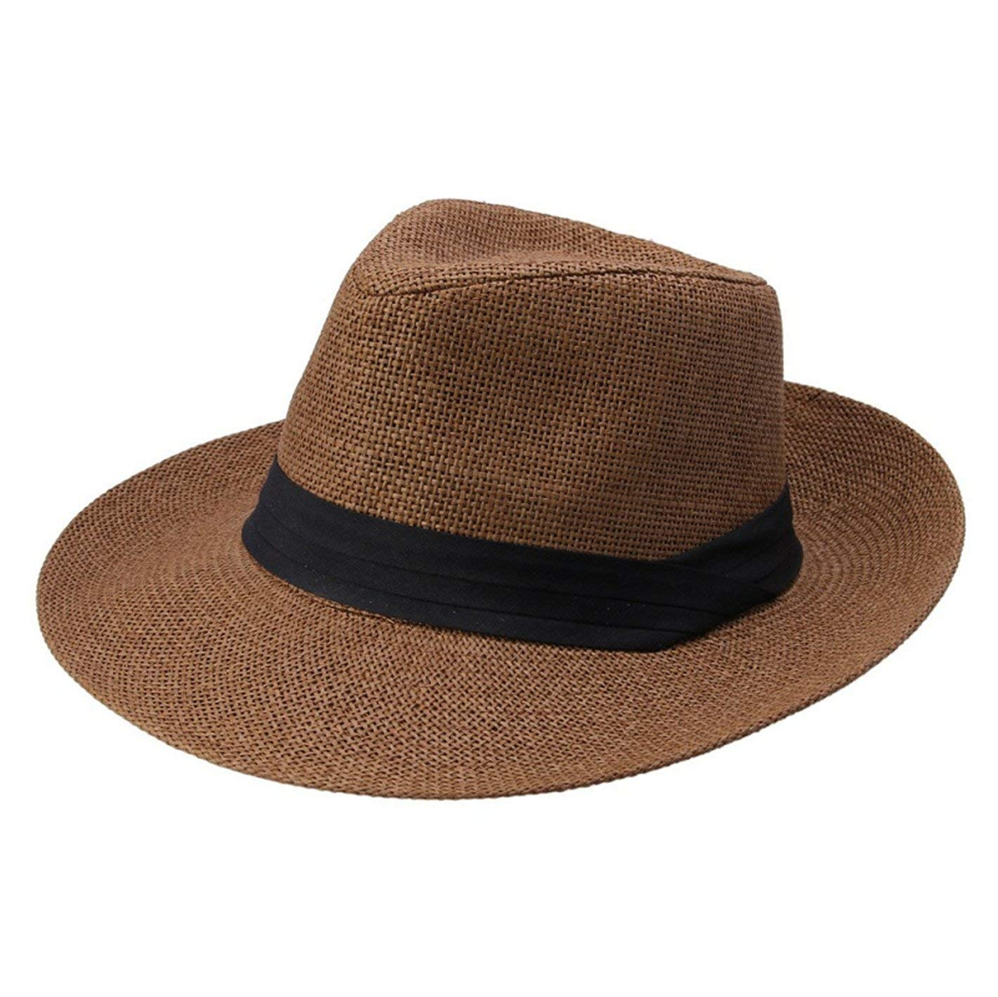 c7aac18a8dd Get Quotations · WKING Summer Unisex Straw Jazz Sunhat With Ribbon Trim Wide  Brim Cap Beach Solid Fedora Hats