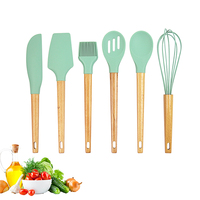 6 pcs Baking Utensils Set / Beech Wood & Silicone Cooking / Pastry Tools / Spatula / Turner / Spoon / Egg Whisk / Oil Brush