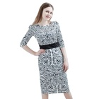 Hot Black And White Dress Trendy Plus Size Clothing Woman Sexy Vintage Short Dress For Sale