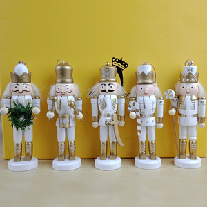 Wholesale Home Decorating 5pcs White Wooden Toy Soldier Nutcracker Craft Ornaments 13cm Xmas Doll Christmas Kid Table Decoration