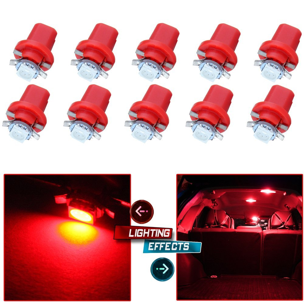 CCIYU 10 PCS B8.5D 1 SMD 5050 Car Red LED Instrument Indicator Light C5W for Side Interior Lamp Bulb
