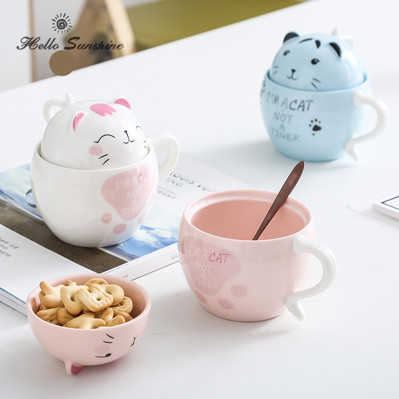 Personality creative cartoon cat with lid coffee mark ceramic cup