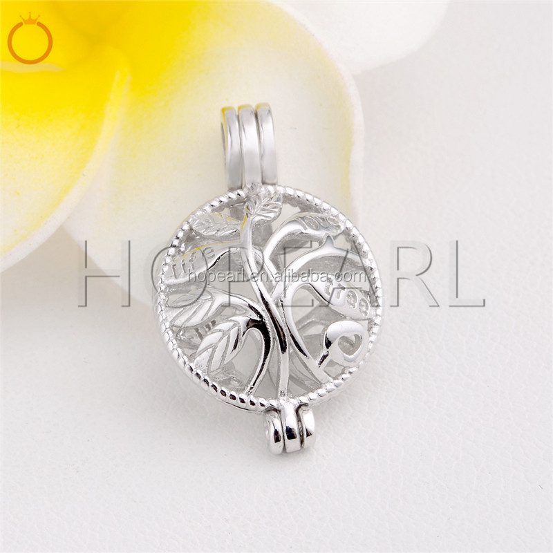 SSC91 Tree of Life Pearl Cage Pendant Locket Wish Pearl Gift 925 Sterling Silver Jewelry Mountings