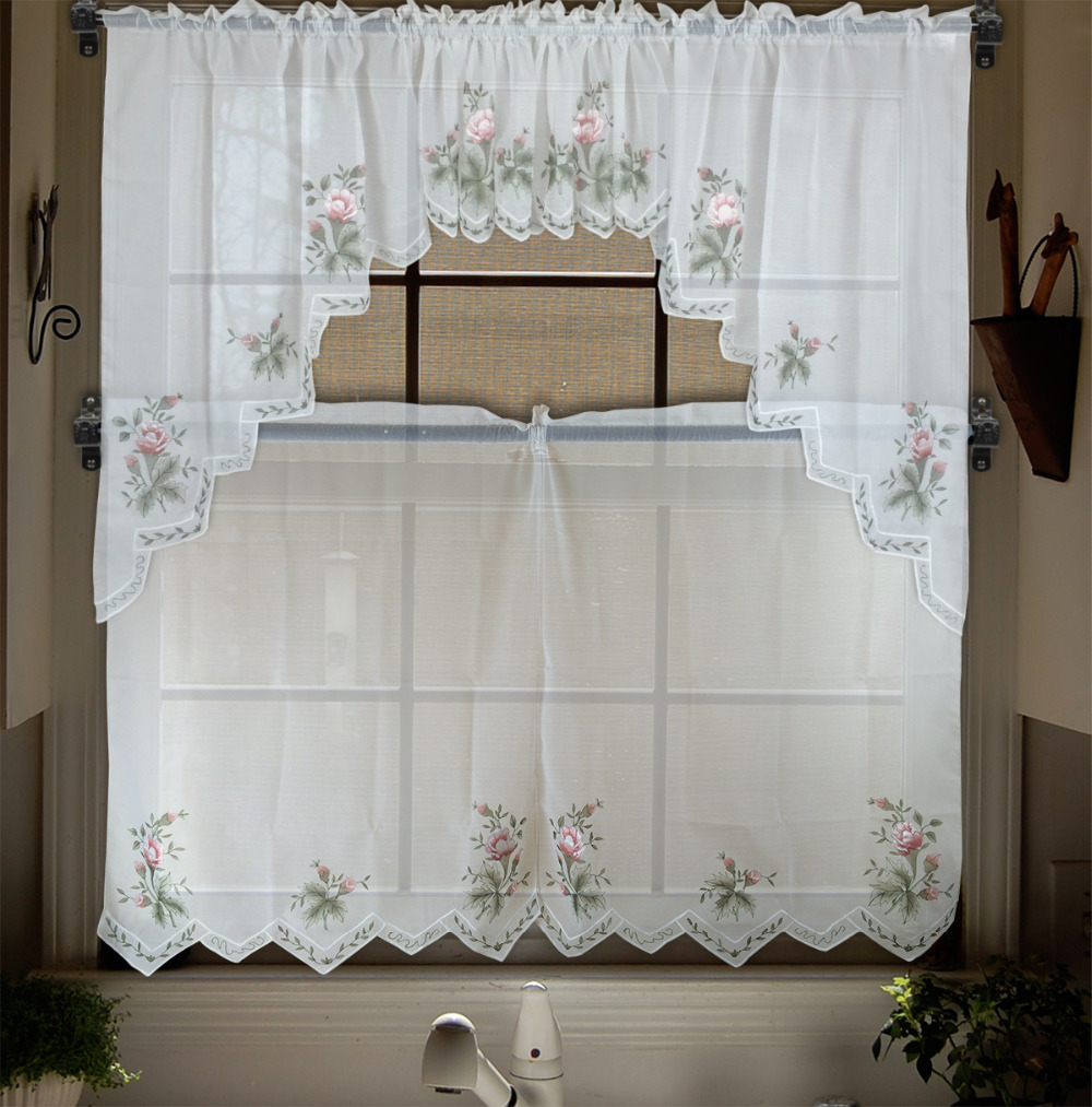 Embroidery Valance Sheer Short Tulle Window Curtains For