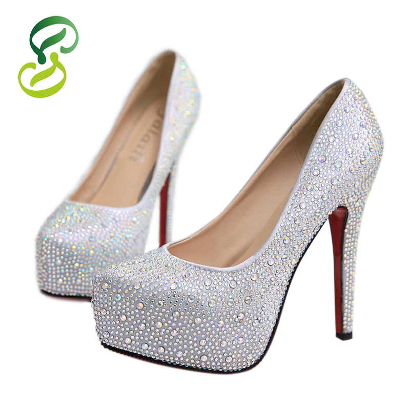 2015 Prom Heels Luxury Wedding Shoes Women High Heels Rhinestone Platform Women Pumps Crystal Silver Sexy Ladies Shoes At Heel