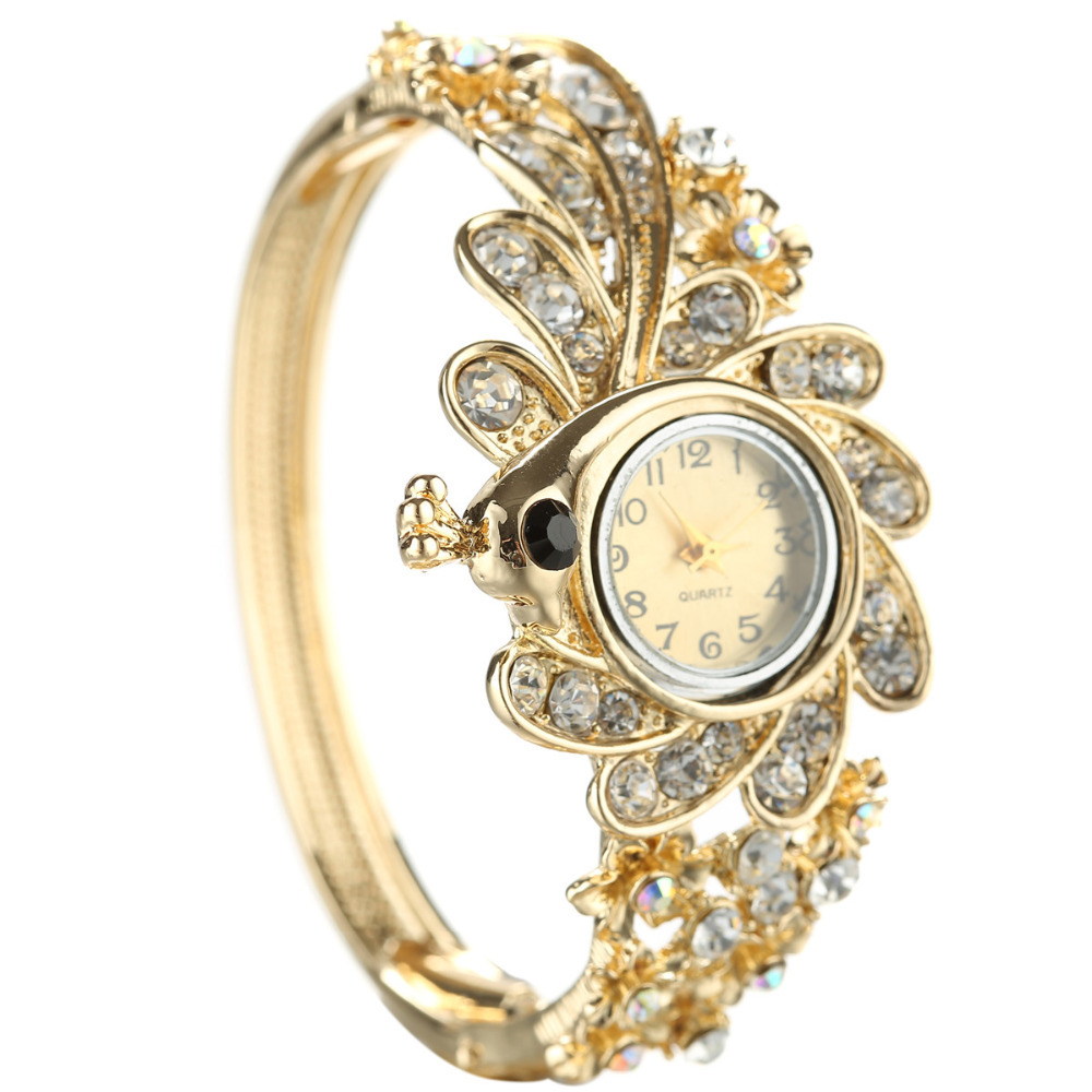 New Design Prefect 24K Gold Plated Vintage Flower With Circul Rhinestone Watch Bracelet Nice Watches Watch Women