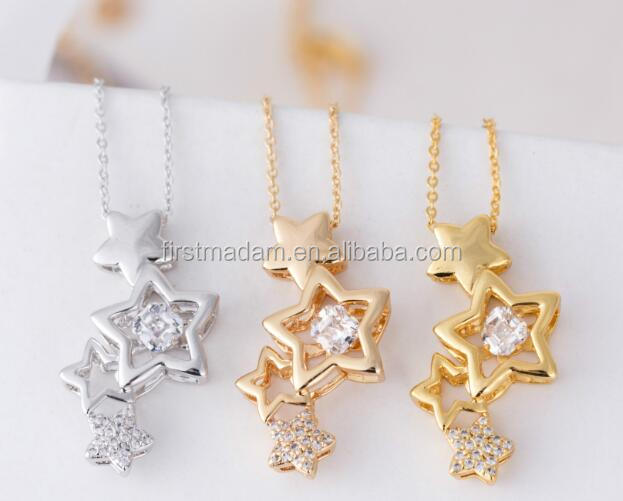 Artificial 24 Gram Gold Designs Five Star Hollow Necklace