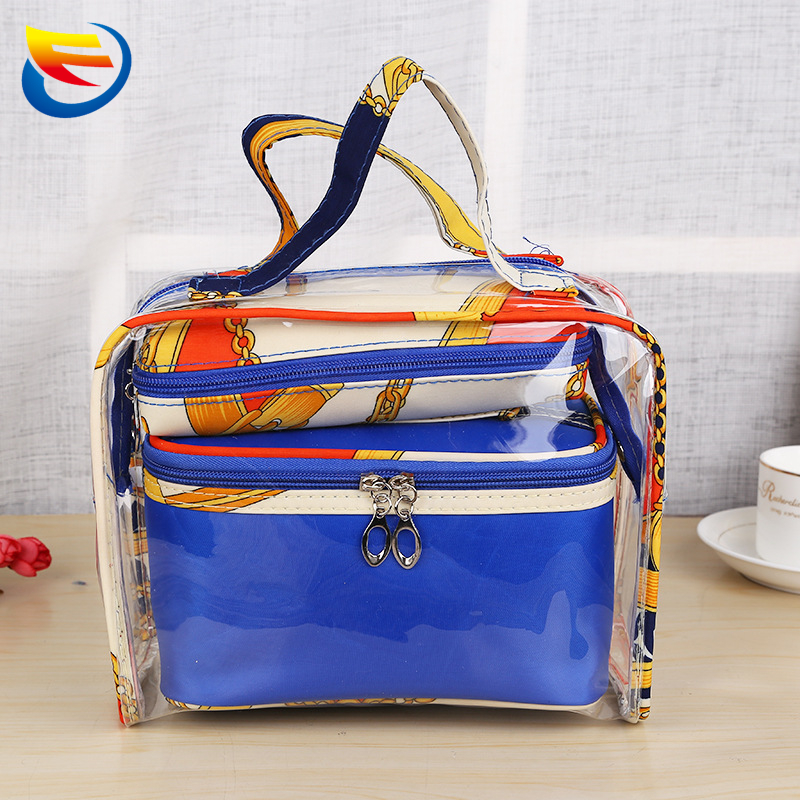 Foreign trade make-up handbag multifunctional PVC transparent bag three-piece toiletry bags Travel to receive bag wholesale