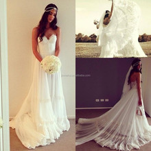Stunning summer beach wedding dresses lace appliques bridal gowns sweetheart backless beautiful vestidos de noiva