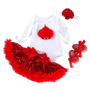 0c6c048d405 4pcs outfits baby girls long sleeve sequin baby romper red paillette tutu  dress for kids with