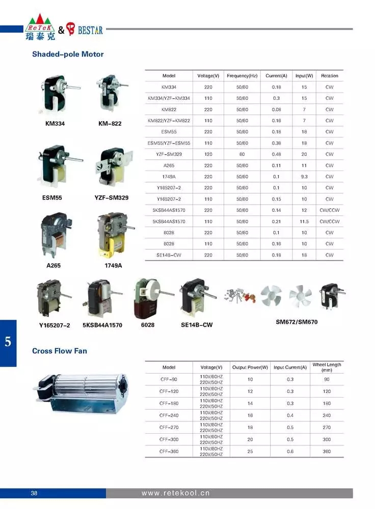 Low noise 48 series shaded pole asynchronous motor for fan heater/air condition pump/humidifier/oven