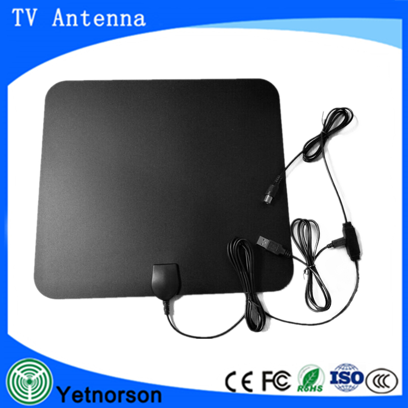 50 miles USB Power supply super thin flat digital indoor tv antenna