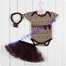 Moda <span class=keywords><strong>leopardo</strong></span> animale <span class=keywords><strong>bambino</strong></span> pagliaccetto, baby body con marrone set gonna tutu