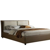 France design PU leather bed set, real leather bed, with side table
