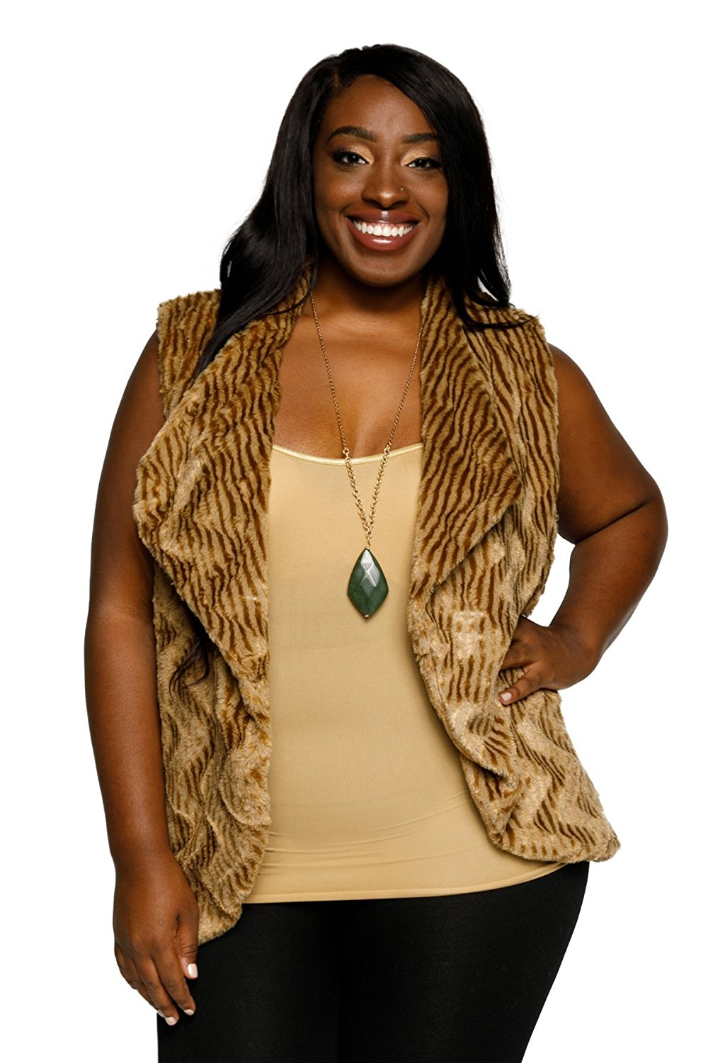 adc8aadf7fb Get Quotations · Hadari Women s Plus Size Faux Fur Open Front Chevron  Sleeveless Sweater Vest