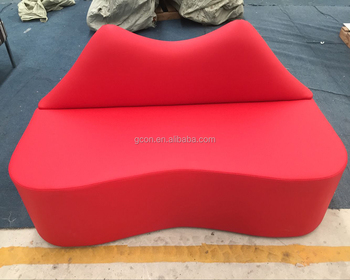 Red lip couch,lip shaped sofa with pu leather