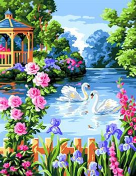 Naturel Landscape Flower And House Design Oil Painting By Numbers