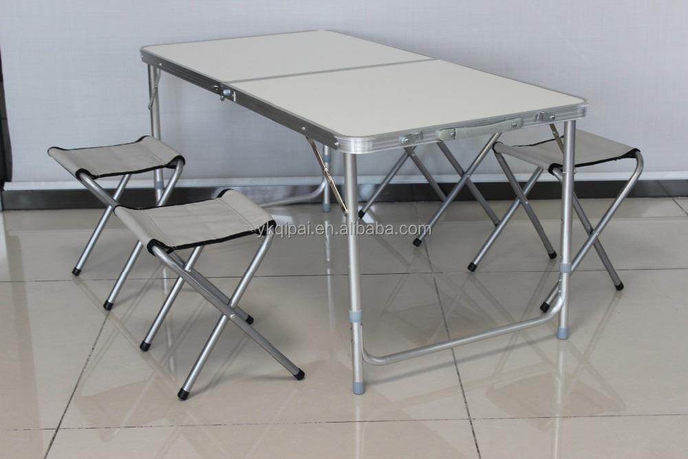 Camping mesa plegable de aluminio con 4 sillas para for Mesa plegable de aluminio para camping