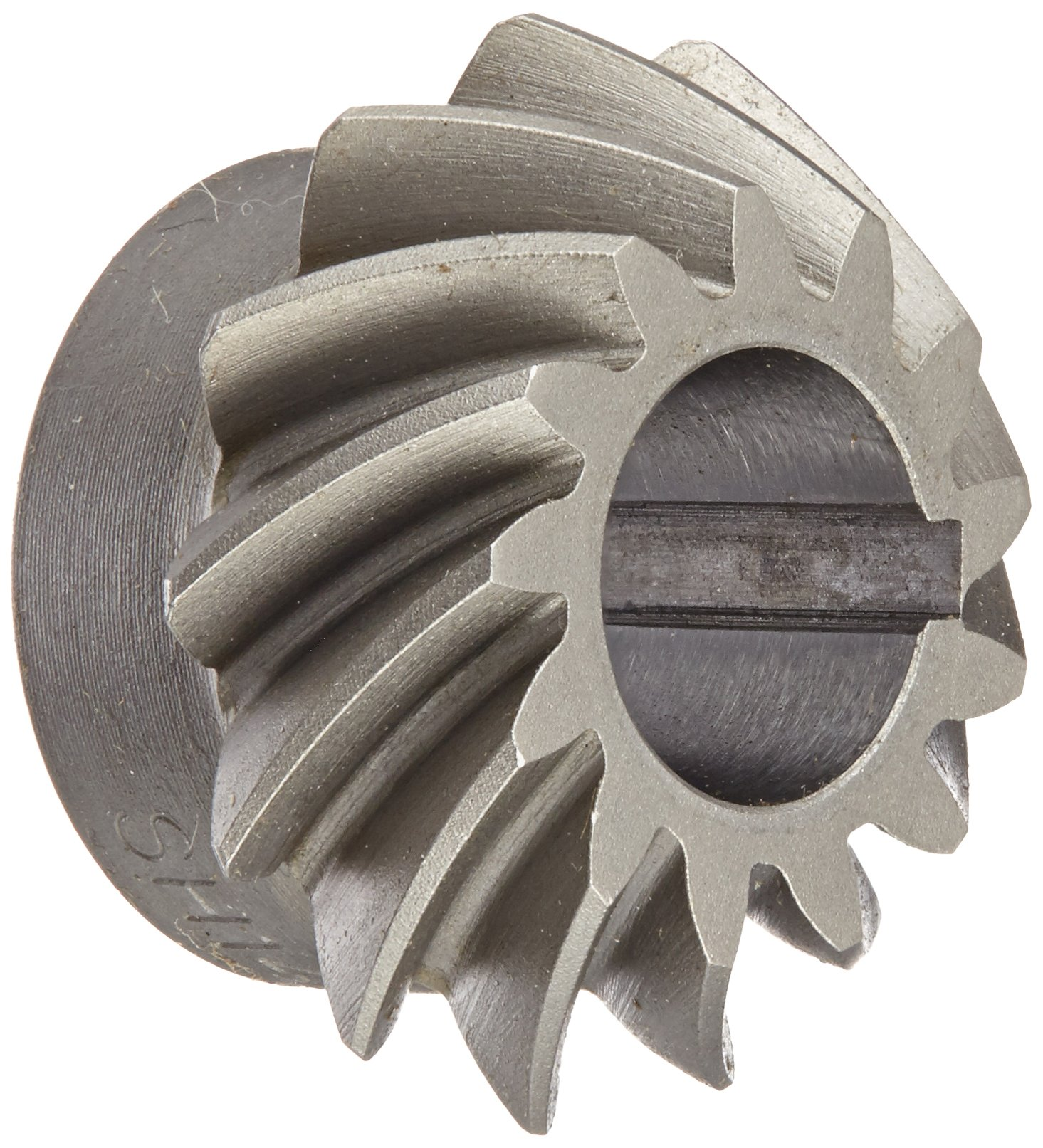 "Boston Gear SH142-P Spiral Bevel Pinion Gear, 2:1 Ratio, 0.438"" Bore, 14 Pitch, 13 Teeth, 35 Degree Spiral Angle, Keyway, Steel with Case-Hardened Teeth"