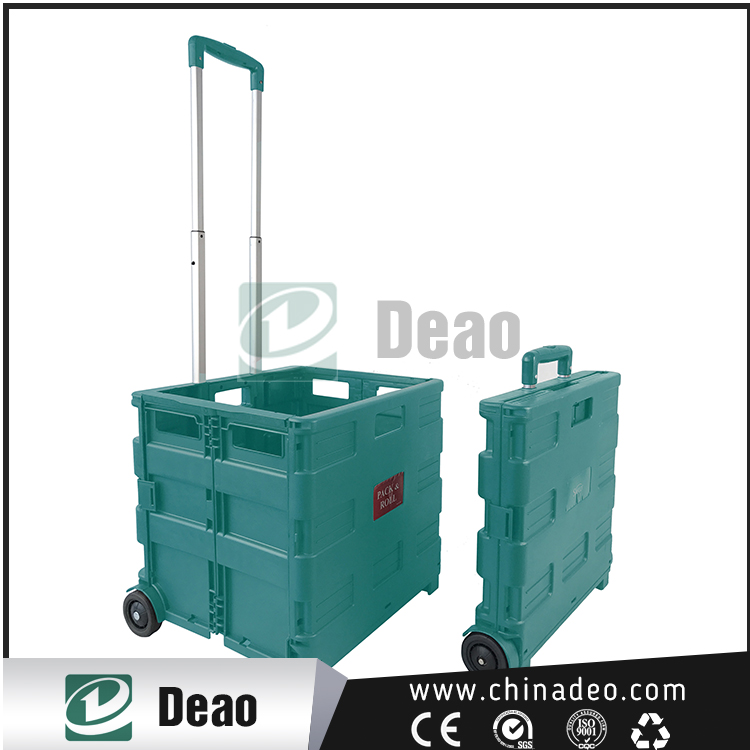 Carrying case portable and folding big volume metal shopping cart with handle tube