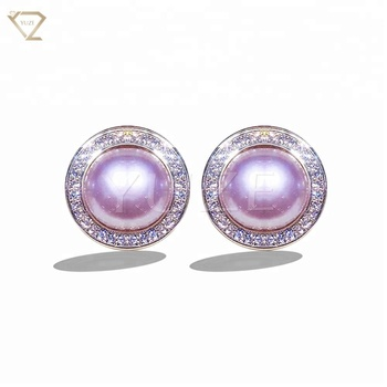 925 Sterling Silver Circle Inlaid Diamond Purple White