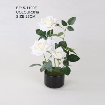 1865c4d7e87 Tahan lama kain buatan bunga mawar dengan keramik pot kecil untuk dekorasi