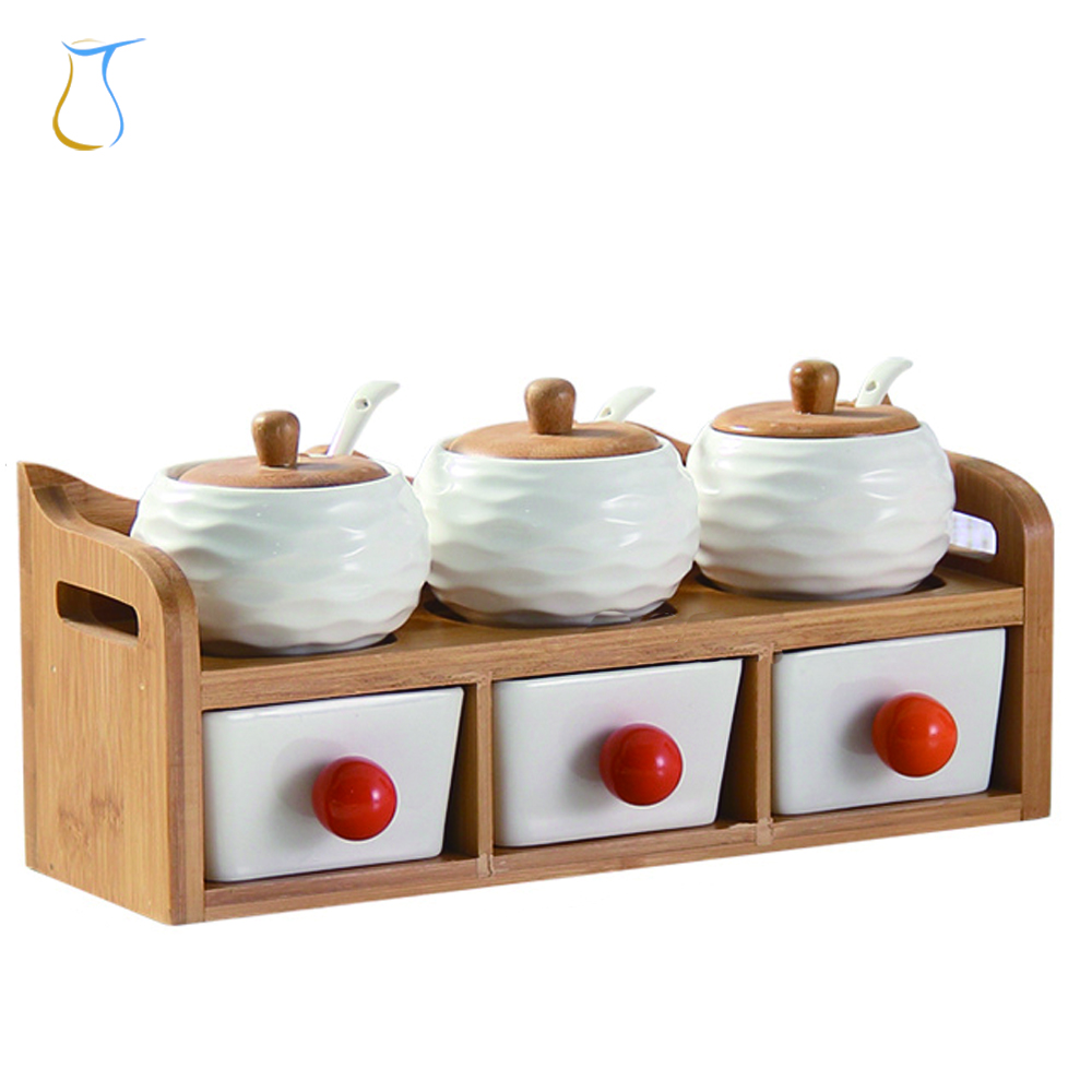 Kitchen Condiment Accessories ceramic multi-chamber spice jar with wooden lid and stand