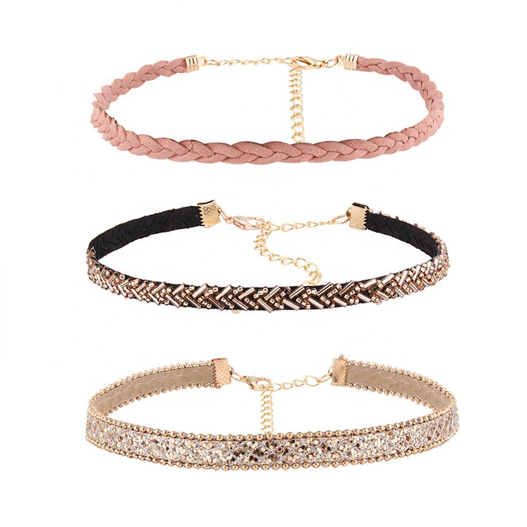 <strong>Fashion</strong> 3pcs/set Chokers Necklaces For Women Leather Rope Chain