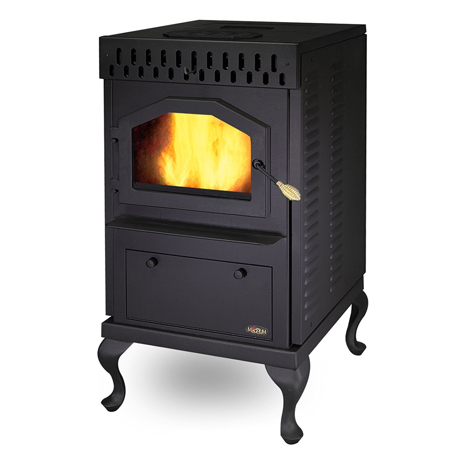 MagnuM Countryside Black Pedestal Wood Pellet Stove 32,000 BTU Hand-Built in USA