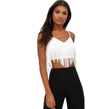 Custom Ladies Tassel Trim V-Neck With Spaghetti Strap Crop Top